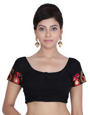 Women's Black Brocade Stitched Wedding Bridal Saree Blouse  Crop Top JKKCBL14