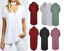 donna colletto scollo a V Largo Casual Top senza maniche T Shirt taglie forti