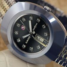 SWISS VINTAGE MENS RADO DIA STAR AUTOMATIC DAY&DATE ANALOG DRESS WATCH ST. STEEL