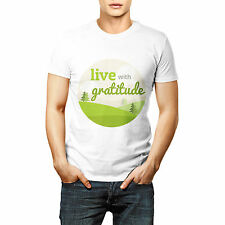 Live With Gratitude Printed T shirt Sports Wear White Round Neck
