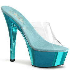 Pleaser Kiss-201 Ladies Turquoise Stiletto Heel Platform Slide Pole Dance Shoes