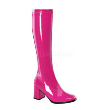 PLEASER FUNTASMA GOGO-300 HOT PINK PATENT STRETCH 70'S DISCO KNEE HIGH BOOTS