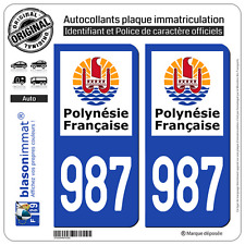 2 Autocollants plaque immatriculation 987-H Polynésie Francaise Collectivité