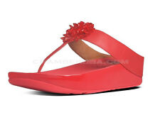 BNWB FITFLOP SIZE 5.5 6 6.5 BLOSSOM RED REAL LEATHER TONE UP TONING FLIP FLOPS