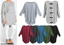 Women's Ladies Girls Plain Oversized Bow Back Batwing Baggy Top