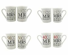 "25th, 40th, 50th Wedding  Anniversary Mugs ""Mr Right and Mrs Always Right"" Gift"