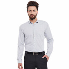 Hancock White and Black Solid Pure Cotton Slim Fit Formal Shirt (43392Black)