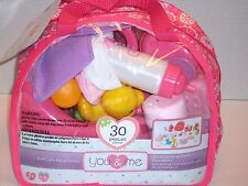 NEW! You & Me Baby Doll Care Accessories in Bag 30 pieces FREE SHIPPING