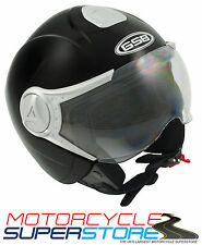 GSB MATT BLACK MOTORCYCLE SCOOTER COMMUTER DVS OPEN FACE HELMET WITH HALF VISOR