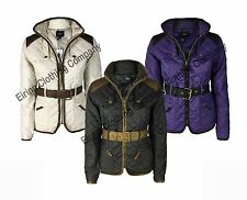 Womens Ladies Jess Country Wear Belted Diamond Quilted Jacket Outdoor Coat