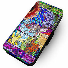 Stained Glass Beast Castle - Printed Faux Leather Flip Phone Cover Case #1