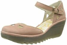 Fly London Yuna Rose Womens Leather Wedge Sandals Shoes
