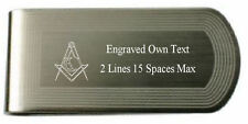 Masonic Engraved Money Clip Junior Deacon Silver Gold Lodge Name Number Text
