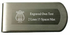 Masonic Engraved Money Clip Music Organist Silver Gold Lodge Name Number