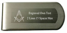 Freemason Masonic Engraved Money Clip Set Square Compass Master Silver Gold