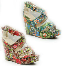 WOMENS LADIES PLATFORM FLORAL WEDGE HEEL ANKLE STRAP SHOES SANDALS SIZE 3-8
