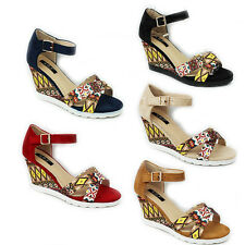 WOMENS LADIES STRAPPY CHUNKY SOLE WEDGE HEEL ANKLE STRAP SANDALS SHOES SIZE 3-8