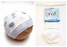 100% SOFT COTTON WHITE PRINTED BABY HAT+ WHITE SOCKS  NEWBORN, 0-3, 3-6 Months