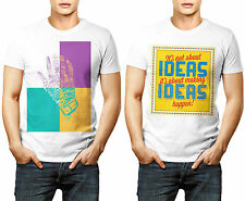 Its Not About Ideas Happen Quote Hand Letters Combo Designer Printed T Shirts