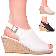 NEW LADIES WOMENS SUMMER PEEP TOE PLATFORM WEDGE HOLIDAY SANDAL SHOES SIZE 3-8