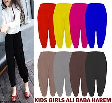 Kids Girls Ali Baba Harem Baggy Loose Full Length Leggings Trousers Pants harem