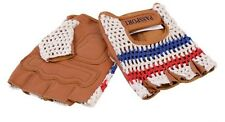 RETRO NATURAL LEATHER CYCLING MITTS WITH COTTON CROCHET BACK