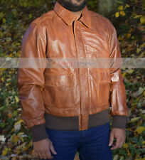 NEW Men A-2 Bomber AVIATION Flight Air Force 100% WWII Genuine Leather Jacket