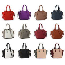 Large Ladies Faux Leather Zipper Women Shoulder Bag Cross Body Handbag Tote Hobo