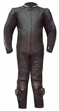 WARRIOR ALL BLACK COWHIDE LEATHER CE ARMOUR MOTORCYCLE MOTORBIKE RACING SUIT