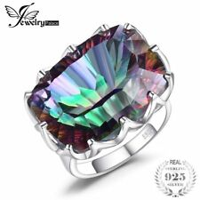 Jewelrypalace Luxury 23Ct Natural Rainbow Fire Mystic Topaz Ring Cocktail For Wo