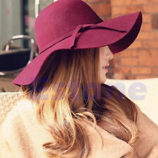 Pillbox Hat Women'S Wide Brim Felt Bowler Fedora Hat Floppy Sun Bowknot Cloche C