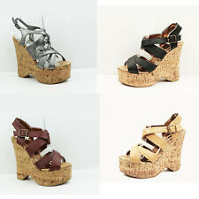 WOMENS LADIES STRAPPY PLATFORM CHUNKYCORK WEDGE HEEL SHOES SANDALS SIZE 3-8