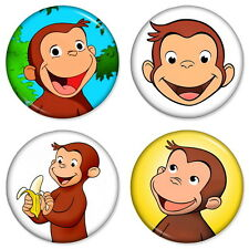 "CURIOUS GEORGE 25mm 1"" Pin Badge Button MONKEY MAN WITH THE YELLOW HAT"