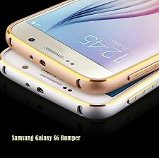 Samsung Galaxy S6 Aluminum Metal Bumper Luxury Frame Case Cover with Gold Line