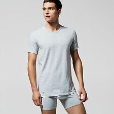 Lacoste Twin Double Pack Crew Neck Cotton T Shirts in Grey