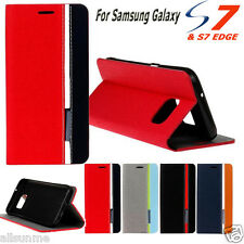 De Lujo Funda Con Tapa Base Monedero Cuero For Samsung Galaxy S7 / S7 Borde