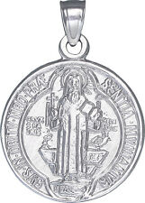Sterling Silver Saint Benedict Medal Reversible Charm Pendant Necklace. 2 Sided