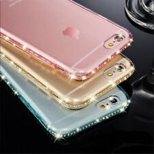 Luxury Ultra Thin Crystal Diamond Bling Gel Transparent Phone Case Cover For Iph