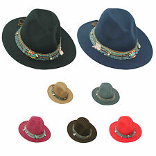 Women Ladies Wide Brim Floppy Bowler Lace Trim Hat Wool Felt Fedora Charm Cap