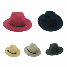 New Women Men Wide Brim Floppy Cowboy Hat Races Wool Felt Fedora Plain Color