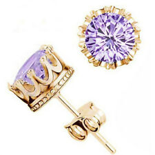 Fashion Lady 18K Gold Plated Crystal Cz Diamond Jewelry Crown Stud Earrings For1