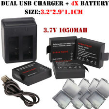 4X3.7V 1050Mah Sj4000 Battery + Dual Charger For Sjcam Sj4000 Sj 4000 Sj5000 600