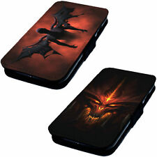 Devil Designs Printed Faux Leather Flip Phone Cover Case 666 Beast Hell Snake #2