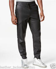 Sport Track Pant Made From Sheep Leather in Black For Men PT8 Black Color