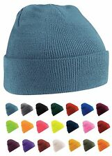 Tricot Uni Bonnet Chapeau Ski Bleu Marron Vert Orange Rose Violet Rouge Blanc