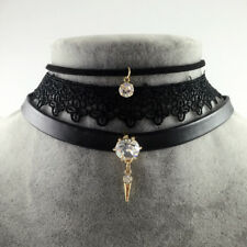Punk Crystal Stone Pendant Genuine Leather Necklace Collares Vintage Lace Choker