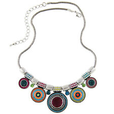Choker Necklace Fashion Ethnic Collares Vintage Silver Plated Colorful Bead Pend