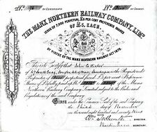 IOM Road Services Isle of Man Railway Manx Northern, Peel Ry share certificates