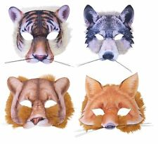 TIGER WOLF LION OR FOX FUR MASK ANIMALS & NATURE FANCY DRESS