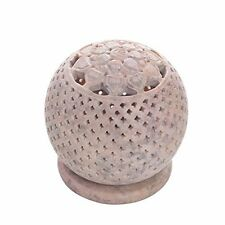 Globe Style Votive Tea Light Holder Natural Soapstone Candleholder with Intrica